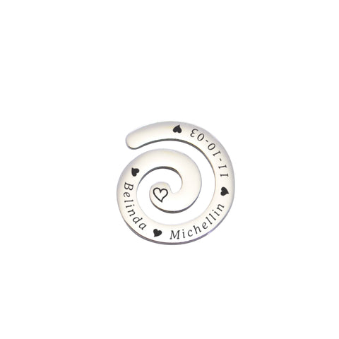 Swirl Charm for Medium 30mm Dream Locket-Silver- BELLE FEVER Personalised Jewellery