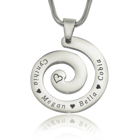 Swirls of Time Necklace-Silver- BELLE FEVER Personalised Jewellery