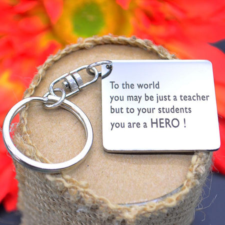 Teacher Hero Keyring-Silver- BELLE FEVER Personalised Jewellery