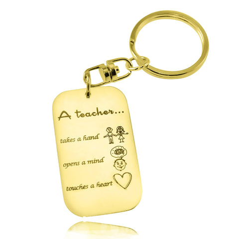 Teacher's Heart Tag Keyring-Gold- BELLE FEVER Personalised Jewellery