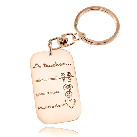 Teacher's Heart Tag Keyring-Rose Gold- BELLE FEVER Personalised Jewellery