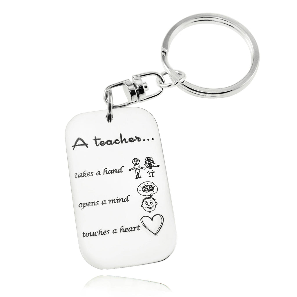 Teacher's Heart Tag Keyring-Silver- BELLE FEVER Personalised Jewellery