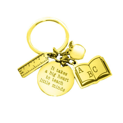 Teachers Life Keyring-Gold- BELLE FEVER Personalised Jewellery