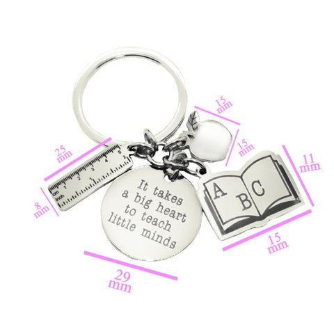 Teachers Life Keyring-Silver- BELLE FEVER Personalised Jewellery
