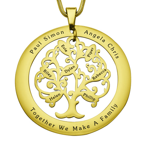 Tree of My Life Washer Necklace-7-Gold- BELLE FEVER Personalised Jewellery