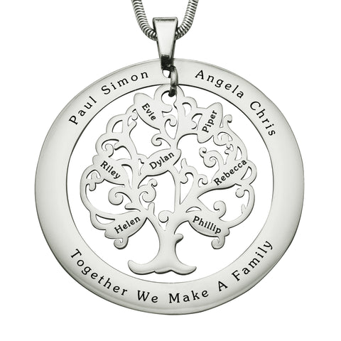 Tree of My Life Washer Necklace-7-Silver- BELLE FEVER Personalised Jewellery