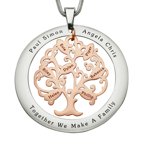 Tree of My Life Washer Necklace-7-Two Tone Rose Gold- BELLE FEVER Personalised Jewellery