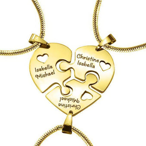 Triple Heart Puzzle - Three Personalised Necklaces- BELLE FEVER Personalised Jewellery