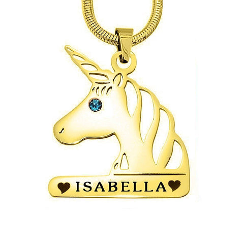 Unicorn Head Birthstone Name Necklace-Gold- BELLE FEVER Personalised Jewellery
