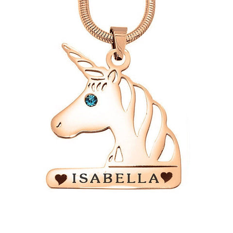 Unicorn Head Birthstone Name Necklace-Rose Gold- BELLE FEVER Personalised Jewellery