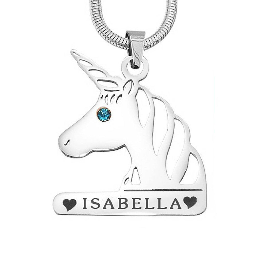 Unicorn Head Birthstone Name Necklace-Silver- BELLE FEVER Personalised Jewellery
