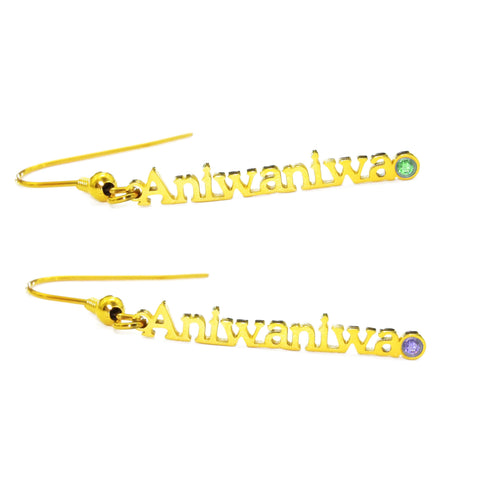 Vertical Name Earrings-Gold- BELLE FEVER Personalised Jewellery