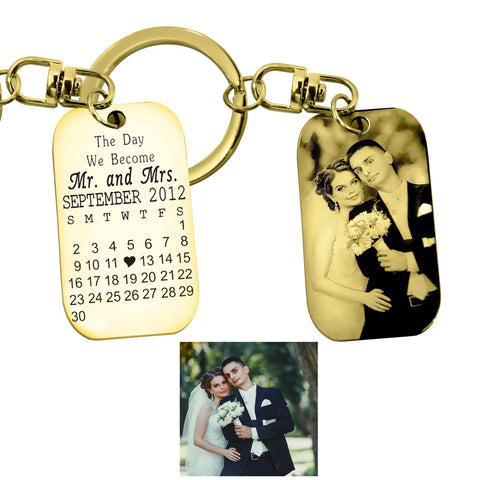 Wedding n Anniversary Tag Photo Keyring-Gold- BELLE FEVER Personalised Jewellery