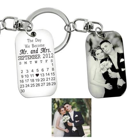 Wedding n Anniversary Tag Photo Keyring-Silver- BELLE FEVER Personalised Jewellery
