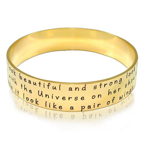 Wide Endless Bangle-Gold-Diameter 6.5 cm / Length 20.4 cm (STANDARD)- BELLE FEVER Personalised Jewellery