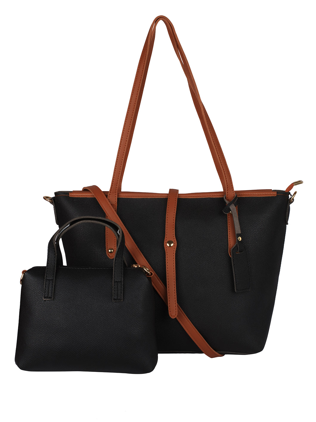 Basic Dual Tone Tote - Black