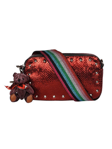 Metallic Sling with Rainbow Strap-Red