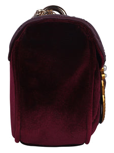 Pearl Detail Quilted Sling-Maroon