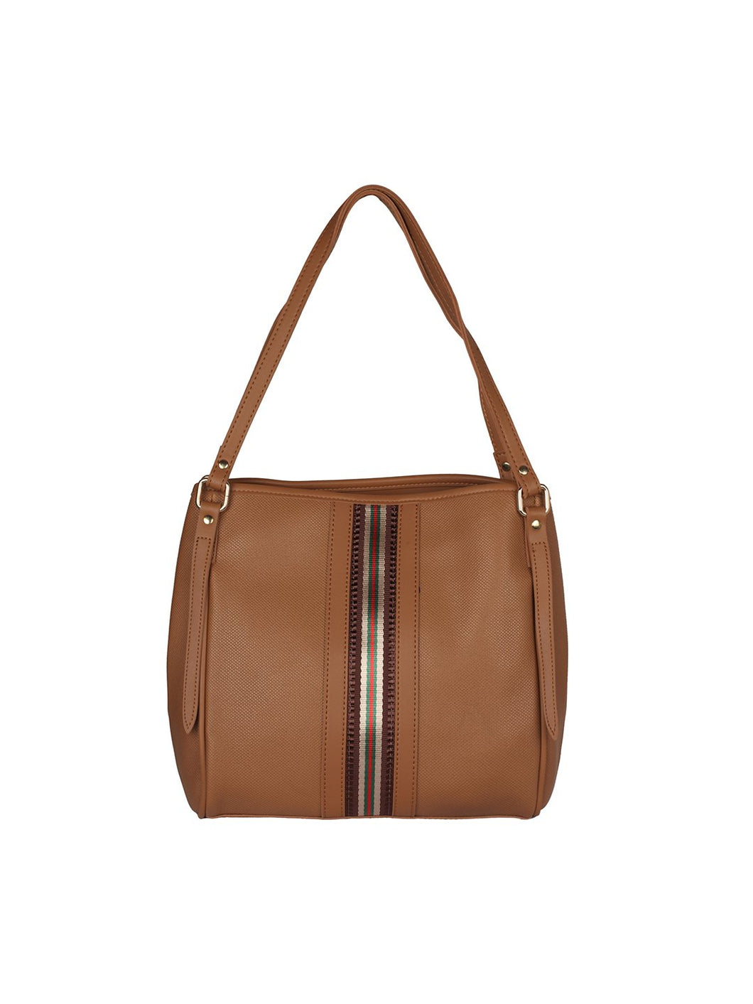 Zipper Detail Neutral Handbag-Tan