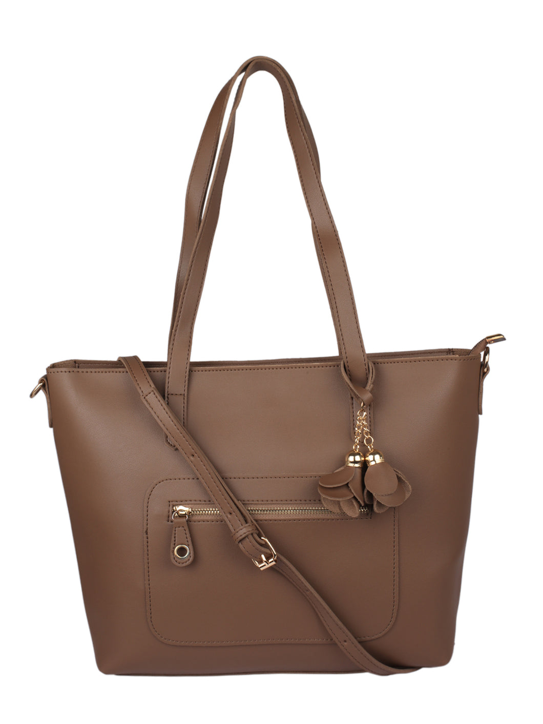 Structured Tote with Flower Charm- Brown