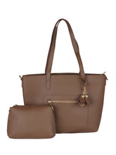 Load image into Gallery viewer, Structured Tote with Flower Charm- Brown