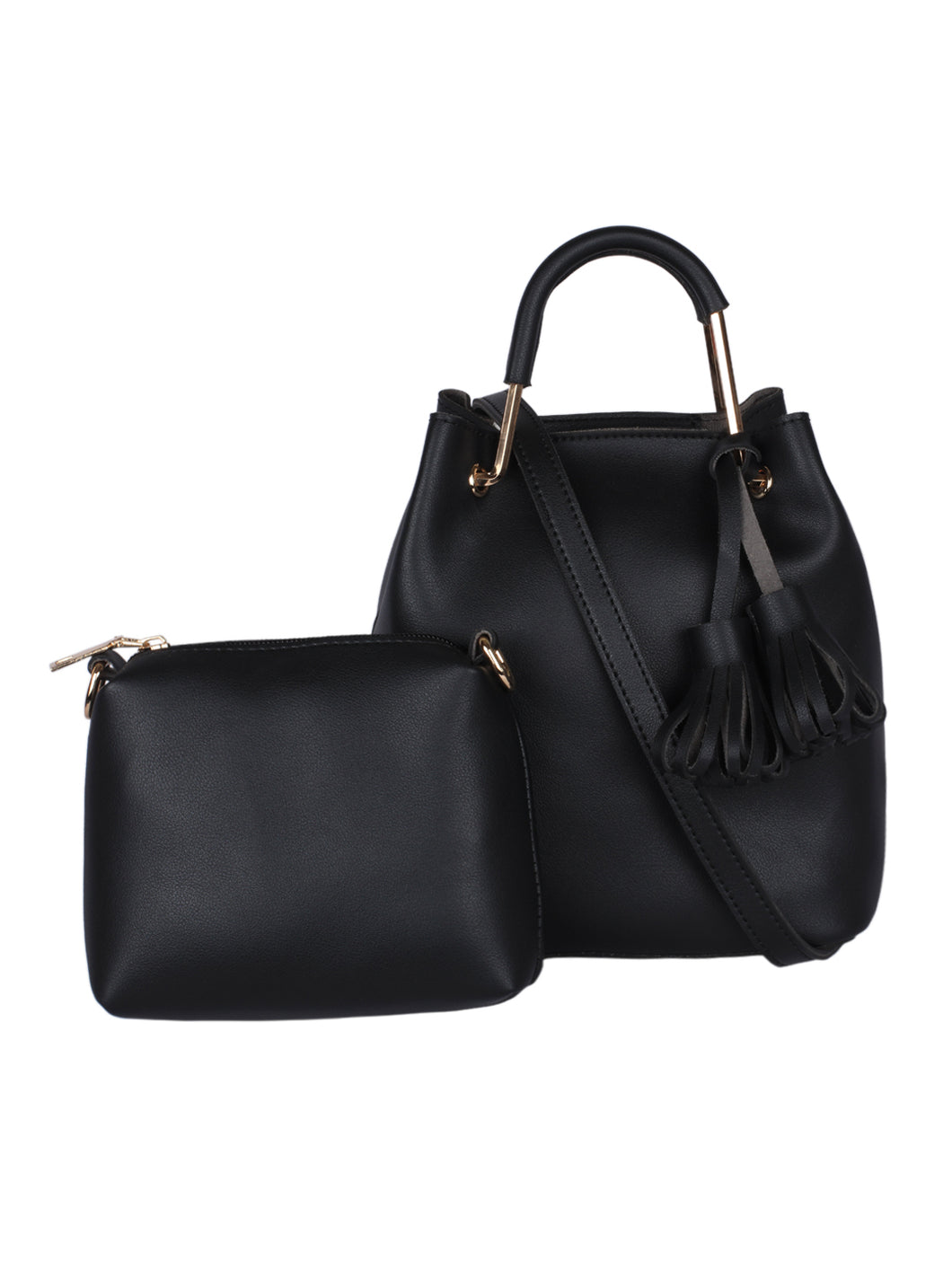 Ring & Tassel Handbag-Black