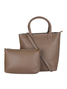 Classic Side Zip Handbag-Dark Brown