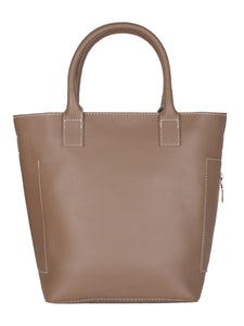 Classic Side Zip Handbag-Tan Brown