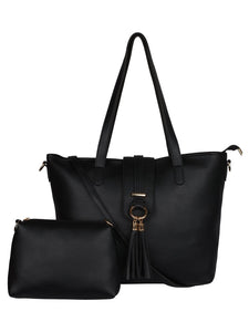 Single Tassel Structured Tote-Black