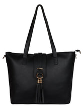 Load image into Gallery viewer, Single Tassel Structured Tote-Black