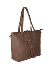 Load image into Gallery viewer, Single Tassel Structured Tote-Brown