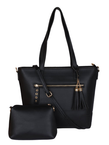 Double Tassel Structured Tote-Black
