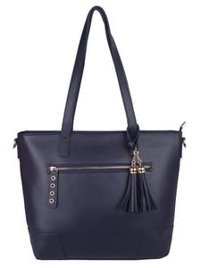 Double Tassel Structured Tote-Blue