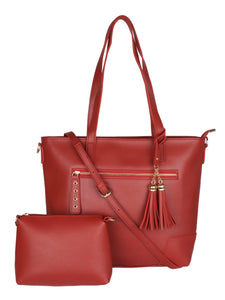 Double Tassel Structured Tote-Red