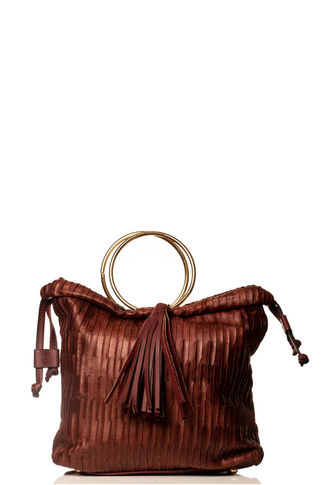 Luxury Gold handle Handbag- Burgundy
