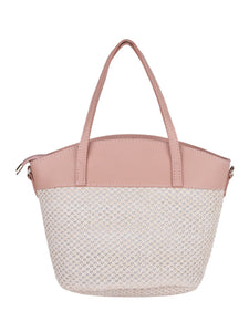 Two-toned Straw Tote-Peach