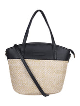 Load image into Gallery viewer, Two-toned Straw Tote-Black