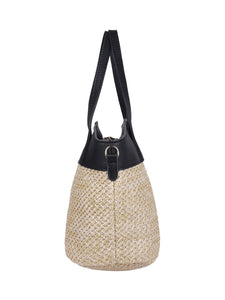 Two-toned Straw Tote-Black