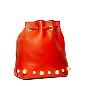 Pearly Bucket Pouch Sling - Red