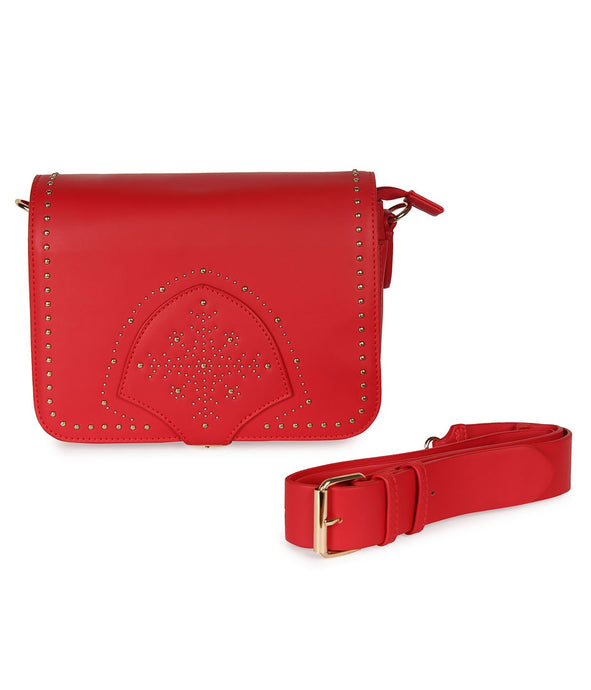 Snowflake Gold Stud Sling-Red
