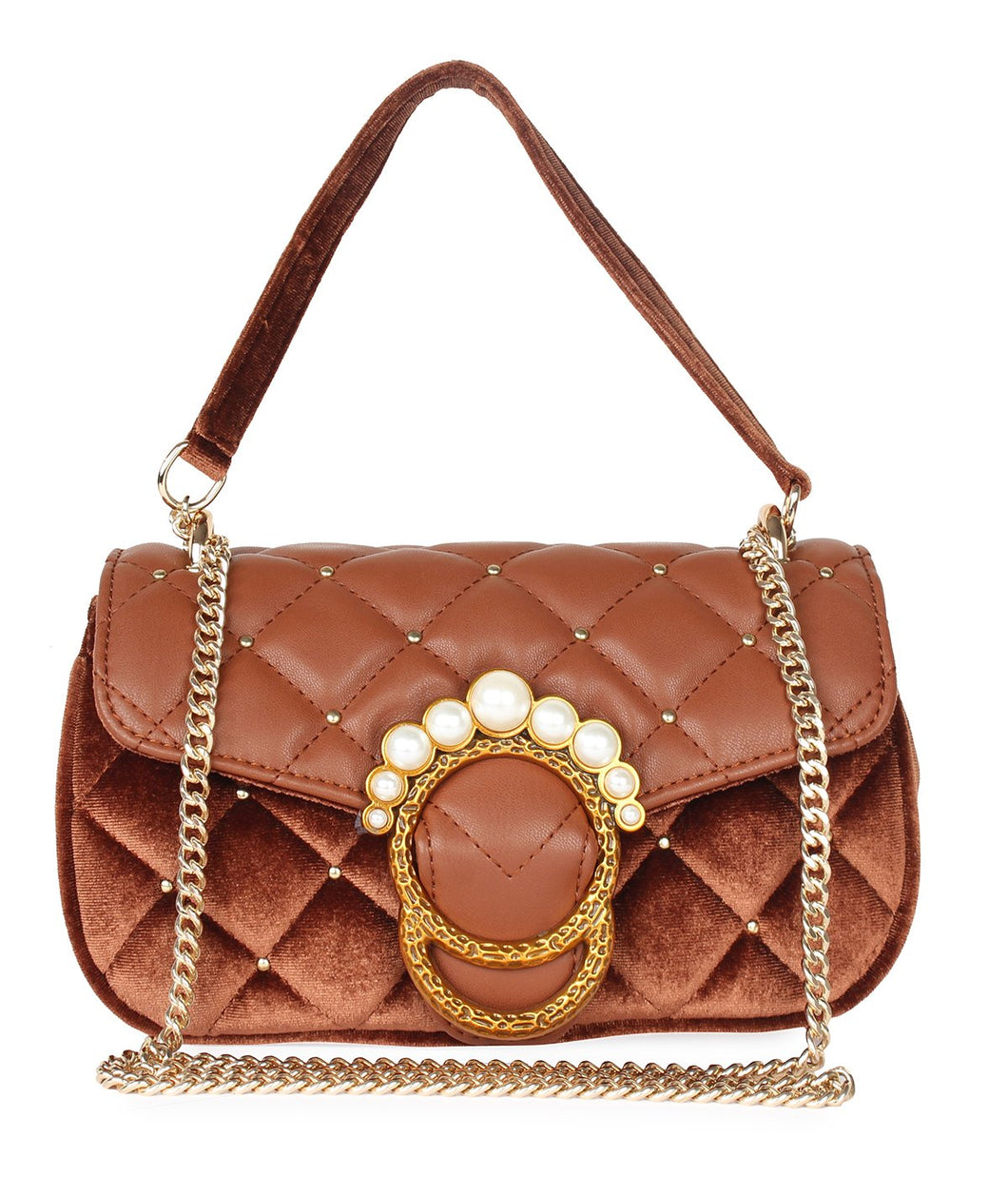 Pearl Detail Quilted Sling-Brown