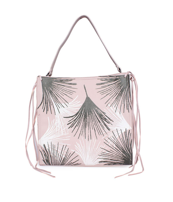 Leaf Pattern Handbag-Pink
