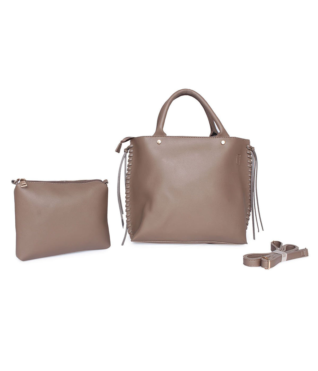 Roomy Structured Handbag-Beige