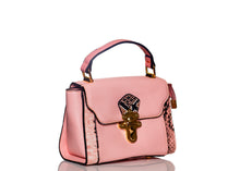 Load image into Gallery viewer, Trapeze Pink Snakeskin Bag