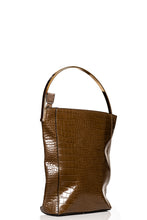 Load image into Gallery viewer, Gold Handle Croc Handbag - Brown