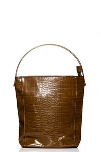 Gold Handle Croc Handbag - Brown