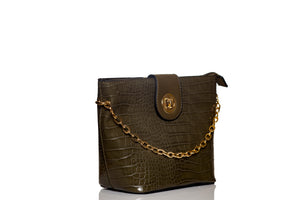 Gold Chain Bucket Bag- Green