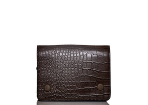 Double Button Croc Clutch- Brown