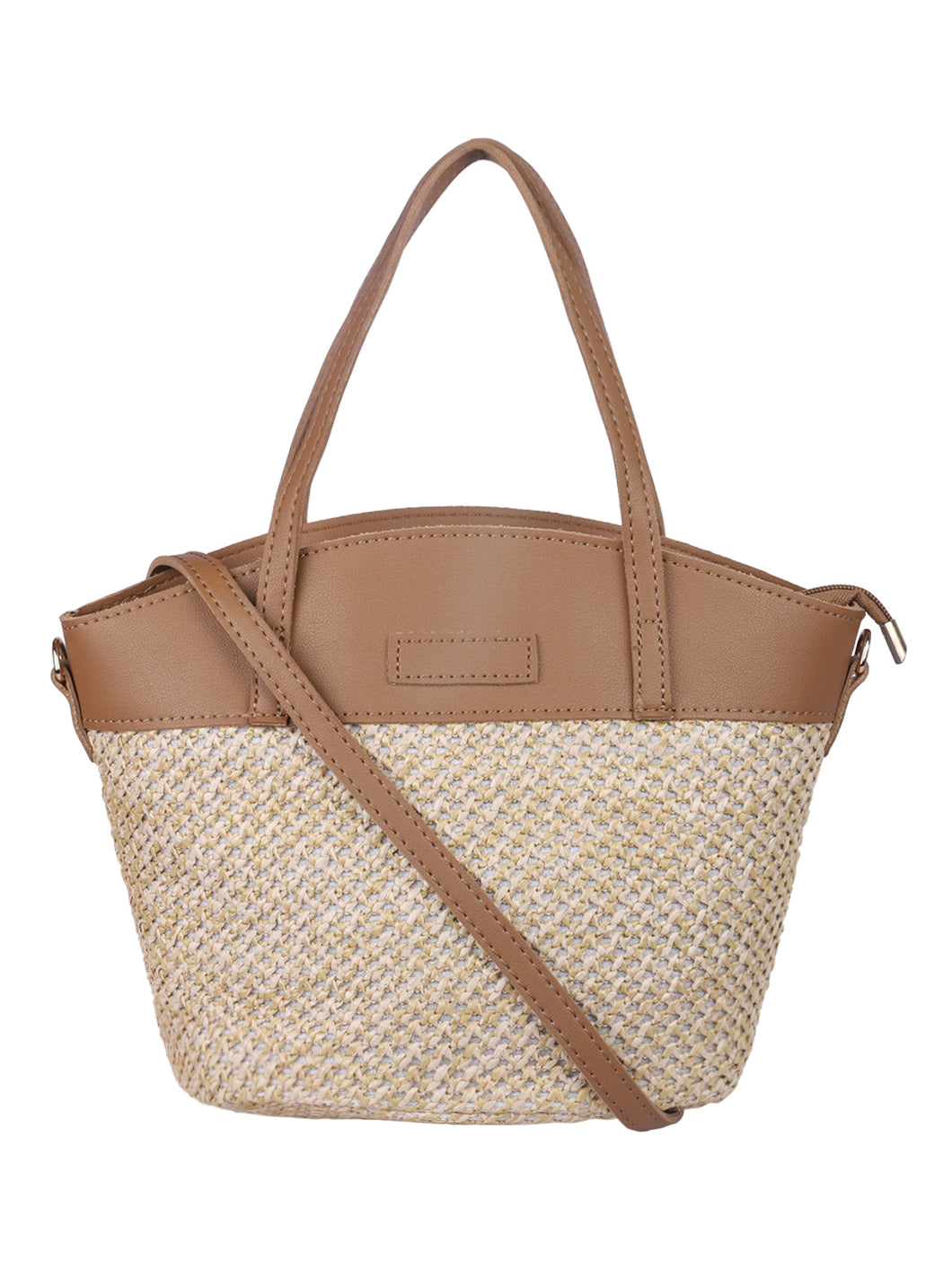 Two-toned Straw Tote-Brown