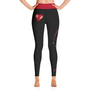 Love Dreams Black Red Yoga Leggings